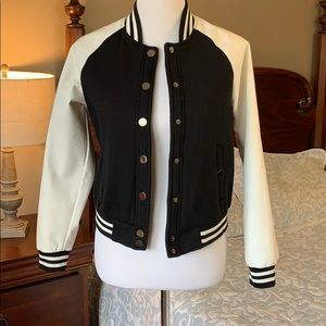 Black and white bomber/letter jacket size small